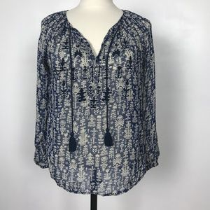 Lucky Brand Floral Navy Top